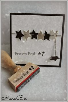 DIY - Weihnachten MaraBee´s Welt: You like stamping? Homemade Christmas Cards, Homemade Cards, Handmade Christmas, Holiday Cards, Christmas Crafts, Christmas Decorations, Simple Christmas, Christmas Stars, Christmas Scenes