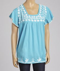 Another great find on #zulily! Blue Embroidered Square Neck Top - Women #zulilyfinds