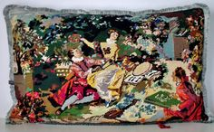 French Unique Vintage Tapestry Silk Needlepoint by Retrocollects,