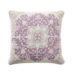 "Linen throw pillow with a feather-down fill.  Product: Pillow  Construction Material: 100% Linen cover and feather-down fill    Color: Lavender and gray     Features: Insert included   Print and embroidered front           Dimensions: 18"" x 18"""