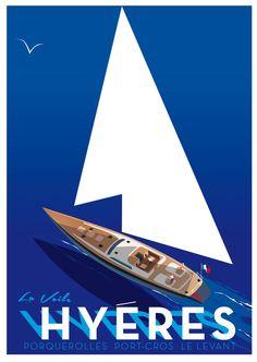Vintage Poster Vintage Travel Poster - Hyeres - Porquerolles, Port-Cros, Le L:evant - by Richard Zielenkiewicz Vintage Advertisements, Vintage Ads, Old Poster, Plakat Design, Tourism Poster, Art Deco Posters, Travel Illustration, Vintage Travel Posters, Poster Vintage