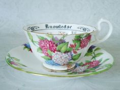 Vintage Aynsley Teacup and Saucer Art Deco Tasseomancy Teacup Set, unusual and rare Hydrangea pattern   Find more at my Etsy Shop here:  http://etsy.me/1gaBmYo