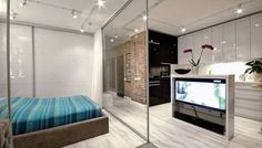 Apartment Large Glass Set For Dividing Bedroom And Modern Kitchen Smart Apartment Fascinate With Wonderful Views In New York