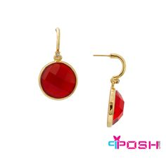POSH - Brooke - Earrings - Fashion earrings - Gold tone metal - Encrusted with clear stone - Large red-orange stone pendant - Push backings POSH by FERI - Passion for Fashion - Luxury fashion jewelry for the designer in you. Monogram Earrings, Gold Earrings, Drop Earrings, Fashion Earrings, Fashion Jewelry, Orange Stone, Selling On Pinterest, Ladies Boutique, Stone Pendants