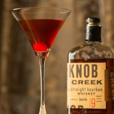 Perfect Manhattan - the perfect cocktail to celebrate National Bourbon Heritage Month.  Knob Creek Bourbon, vermouth, bitters and a cherry