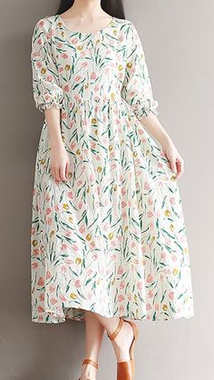 Women loose fitting over plus size retro flower dress long maxi tunic skirt chic - Women Fashion Trends Trendy Dresses, Cute Dresses, Casual Dresses, Summer Dresses, Casual Shoes, Summer Maxi, Shoes Style, Summer Wear, Maxi Dresses