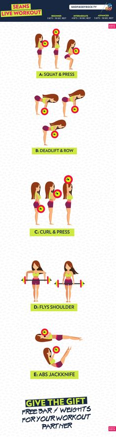 Check out this bar and weight workout! Get in shape for free with BodyRock, your go to fitness community! Fitness Goals, Fitness Tips, Health Fitness, Fitness Facts, Bar Workout, Workout Diet, I Work Out, Work Hard, Gym Time