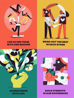 Each poster tells about one of the major company values regarding teamwork and client service. Posters are meant to be used separately as well as matching together as one bigger poster.The values are:Bring out the best in e… Illustration Design Graphique, People Illustration, Business Illustration, Flat Illustration, Digital Illustration, Illustration Editorial, Web Design, You Draw, Illustrations And Posters