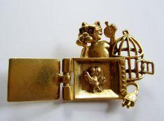 Rare+AJC+Vintage+Brooch+Pin+Kitty+Cat+With+by+FrivolousIndulgences