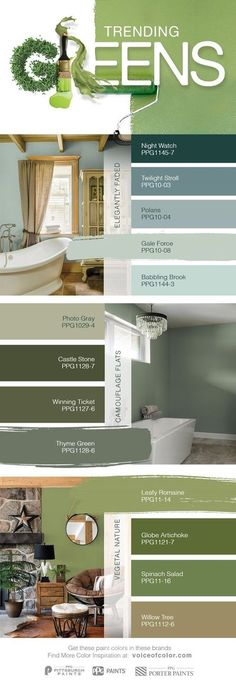 Trending Green Paint Colors for 2017 | The natural world is once again becoming a dominant design influence. Green hues symbolize nature and the organic world. Greens create a sense of tranquility, health and peace, while providing comfort. For 2017, trending greens include elegant & soft greens, camo-inspired greens, and the pure greens found in nature.