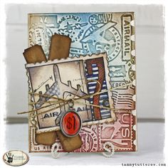 @Tammy Tarng Tutterow is on the blog today with this card featuring @Tim Harbour Holtz Stamp2Cut. Find out how she created it at http://sizzixblog.blogspot.com/2013/03/airmail-greeting-card-featuring.html.