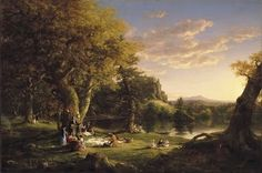 """Thomas Cole (1801-1848) was an English-born American artist known for his landscape and history paintings. He is regarded as the founder of the Hudson River School, an American art movement that flourished in the mid-19th century. (Wikipedia) (""""The Pic-Nic"""" by Thomas Cole)"""