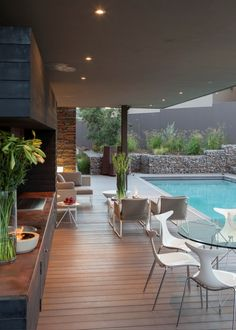 ✔ 47 trending small pool designs for your backyard 32 Outdoor Rooms, Outdoor Living, Indoor Outdoor, Outdoor Kitchens, Outdoor Pool Areas, Outdoor Life, Small Pool Design, Design Exterior, Wall Exterior