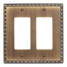 Egg and Dart Zinc Double Decora Switch Plate - Antique Brass