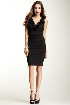 Romeo & Juliet Couture Sleeveless Black Ruffled Dress
