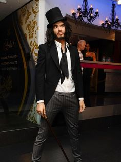 The Russell Brand waxwork at Madame Tussauds in London, is dressed in top hat, cane and black dinner jacket to celebrate his role in the movie Arthur, a remake of the Dudley Moore film.