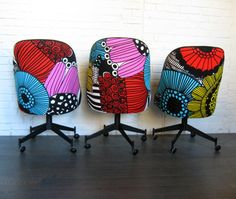 I want these! Marimekko textile used to re upholster the chairs
