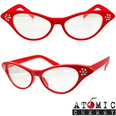 Red 50's Cat Eye Clear Glasses Retro Rockabilly Pin Up Pointed Costume Grease