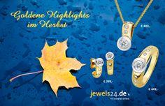 Goldene Highlights im Herbst - in unserem Online Schmuck Shop www.jewels24.de finden Sie bezaubernden Goldschmuck. Ein richtig tolles Geschenk, um triste Herbsttage zu etwas schöner zu machen! Wir bieten edlen Diamantschmuck, direkt vom Hersteller aus Idar-Oberstein. #diamantschmuck #herbst #goldschmuck