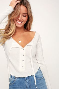 Cozy up in the Free People Cecilia Ivory Long Sleeve Thermal Top! Soft bc7aa5efb