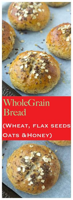 Whole grain hot cross buns with whole wheat, oats, flax seeds and honey