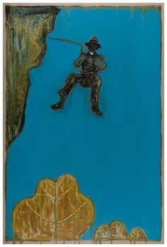 Billy Childish, Leap from Indian Rock (Dick Leonard) (Version x), 2012. Oil and Charcoal on Linen. 108.1 x 72 inches (274.5 x 183 cm)