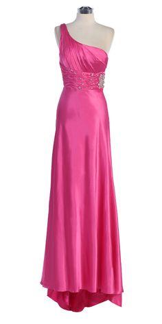 Hot Pink One Shoulder Rhinestone Waistband Full Length Bridesmaid Dress S2145-HP $98.00 on www.GirlsDressLine.Com