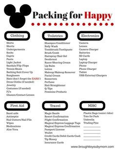 Simple Packing List for Walt Disney World - A basic list to inspire ideas of needs to pack to travel to Disney.