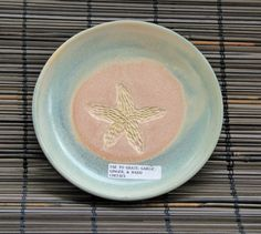Starfish Plate- Pottery/ Ceramic Grater- Garlic/ Herb/ Ginger Grinder, peach and turquoise. Handmade for you.