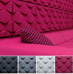 Soundwave® Flo, Acoustical sound panel was designed by Karim Rashid. Find lots of soundproofing acoustic panels at the Swedish furniture design company Offecct! Karim Rashid, Sound Absorption, Sound Absorbing, Acoustic Panels, Sound Proofing, Sound Waves, Wall Treatments, Wall Tiles, Game Room