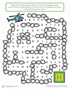 Kids completing this helicopter alphabet maze get great practice with letters and alphabetical order. They also exercise thinking and fine motor skills. Name Writing Activities, Pre K Activities, Steam Activities, Kindergarten Learning, Fun Learning, Teaching, Mazes For Kids Printable, Worksheets For Kids, Alphabet For Kids
