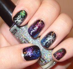 New Year Nail Art: Glitter Fireworks - Trend Vogue