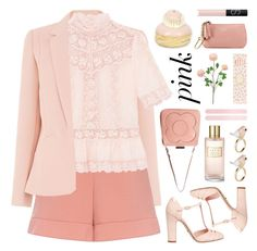 """color me pretty: head-to-toe pink"" by jesuisunlapin ❤ liked on Polyvore featuring Accessorize, RED Valentino, Dolce&Gabbana, ALDO, Ladurée, Orla Kiely, Estée Lauder, NARS Cosmetics, Gucci and Pink"