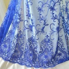 Tulle Flowers & Plants Floral Craft Fabrics for sale Beaded Lace Fabric, Bridal Lace Fabric, Tulle Lace, Tulle Flowers, Planting Flowers, Sequins, Floral, Royal Blue, Crafts