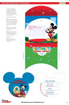Mickey And Friends, Party Packs, Party Invitations, Mickey Mouse, Parties, Boys, Mickey House, Fiestas, Baby Boys