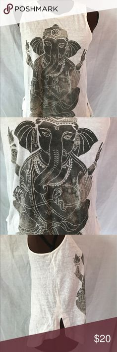 Lucky Brand Elephant God Graphic Tee This comfy tee has a gray Ganesh Graphic and a zip-up back. Goes great with a pair of jeans .   |✅25% Off Bundles| |✅Questions Welcomed| |✅Reasonable Offers| |⛔️Trades| |⛔️Offline Transactions| |Thrift is Sexy  Lucky Brand Tops Tees - Short Sleeve