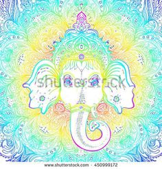 Hindu Lord Ganesha over ornate mandala pattern. Vector illustration. Vintage decorative. Hand drawn paisley background. Indian motifs. Tattoo, yoga, spirituality. Rainbow vibrant Gradient over white.