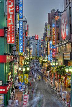 Shinjuku street, Tokyo, Japan. I love love love this place.