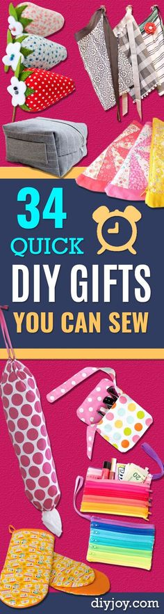 Quick DIY Gifts You Can Sew - Best Sewing Projects for Gift Giving and Simple Handmade Presents - Free Patterns and Easy Step by Step Tutorials for Home Decor Baby Women Kids Men Girls Sewing Hacks, Sewing Tutorials, Sewing Crafts, Sewing Tips, Sewing Ideas, Sewing Basics, Tutorial Sewing, Handmade Home, Handmade Gifts