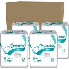 Assurance Maximum Absorbency Briefs, 2XL, 12 count, (Pack of 4)
