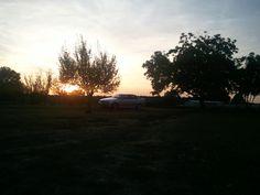 sunset over BMW
