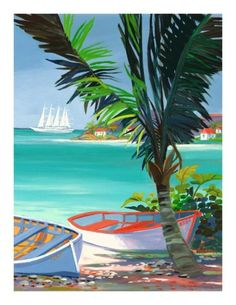 Shari Erickson - Art Prints For Sale Sailboat Art, Caribbean Art, Photo To Art, Art Africain, Tropical Art, Arte Pop, Seascape Paintings, Fish Art, Beach Art