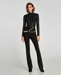 Trouser Leggings // USD // Zara // High waist leggings with double topstitching detail. Featuring belt loops, back pockets and front zip and button fastening. HEIGHT OF MODEL: 178 cm. Leggings, Zara United States, Zara Women, Trousers Women, Fashion Models, Zara Fashion, Dame, Jumpsuit, Clothes For Women