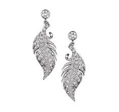 Feather Earrings with Diamond Studs in White Gold / David Marshall London