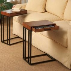 Tray Table with Drawer that fits over arm of couch for all the use of living room side tables without taking up so much space