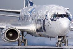 Avião com cobertura de Chantily!!! Não, não, é neve mesmo.