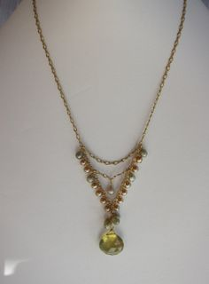 Pendentif Quartz whisky collier de perles à par HeartlightJewelry, $200.00