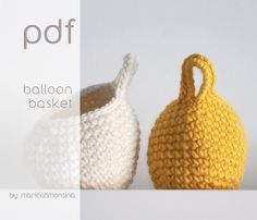 =======THIS LISTING IS FOR A PATTERN IN PDF FILE, NOT A FINISHED PRODUCT =======   The Ballon Basket crochet is a lovely and easy project.  == PDF file ==  Level BEGINNER.  Just need to know:  How to read a pattern. How to do basic crochet stitches: single crochet, decrease, slip stitch and chains. How to crochet in the round.  Pattern includes 4 pages and a photo tutorial that will help you to understand the process. Anyway, Ill be happy to clarify any doubt you have. Just send me an email…