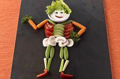 Trempette squelette et cerveau   ----------------------------Transformez les légumes en régals terrifiants! Vos enfants adoreront manger sainement.