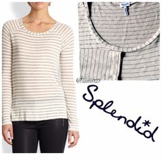 Splendid • Gold Striped Long Sleeve Top Long sleeve loose fitting top in parchment white/cream with Spendid's iconic stripes in metallic gold. Slits on each side on bottom hem and subtle high low style. Perfect for layering as it is very light weight. 88% rayon 12% lurex. Pre loved but in great condition- no flaws. Splendid Tops Tees - Long Sleeve